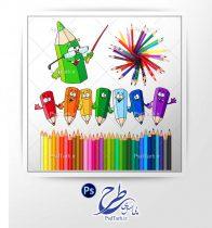 فایل لایه باز مداد رنگی کودکانه