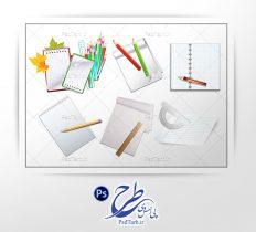 فایل لایه باز کاغذ و مداد رنگی کودکانه